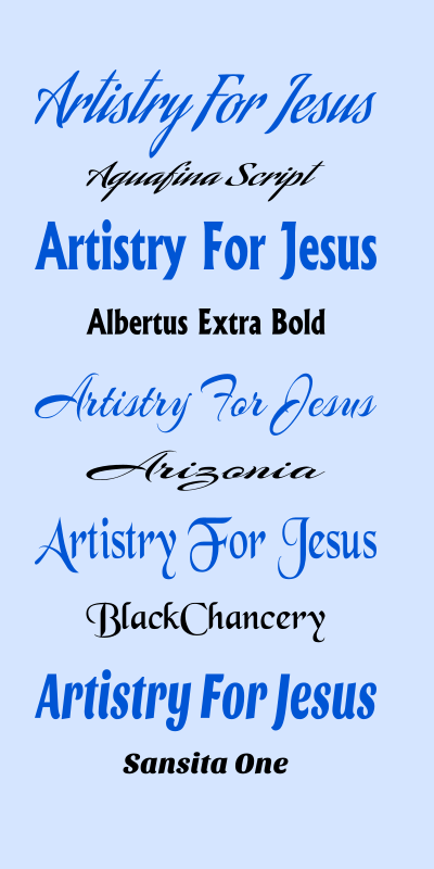 Artistry For Jesus Fonts for creativity